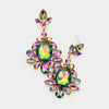 Multi-Color Crystal Dangle Prom Earrings on Gold | Pageant Earrings | 461991