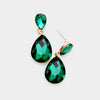 Small Emerald Crystal Teardrop Dangle Earrings on Gold | Little Girls | Older Girls Interview