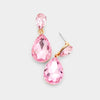 Small Pink Crystal Teardrop Dangle Earrings on Gold | Little Girls | Older Girls Interview