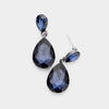 Small Navy Crystal Teardrop Dangle Earrings | Little Girls | Older Girls Interview