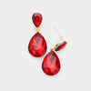 Small Red Crystal Teardrop Dangle Earrings on Gold | Little Girls | Older Girls Interview