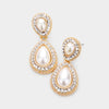Small Double Teardrop Pearl Drop Earrings on Gold  |  477222