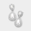 Small Double Teardrop Pearl Drop Earrings on Silver