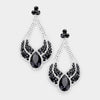 Large Chunky Cut Out Black and Crystal Teardrop Earrings