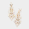Clear Mix Shaped Crystal Pageant Earrings on Gold | Prom Earrings