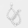 Clear Marquise Crystal Statement Oval Hoop Earrings