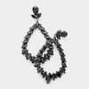 Black Marquise Crystal Statement Oval Hoop Earrings