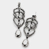 Black Crystal Rhinestone Teardrop Dangle Pageant Earrings