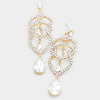 Clear Crystal Rhinestone Teardrop Dangle Pageant Earrings on Gold