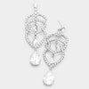 Clear Crystal Rhinestone Teardrop Dangle Pageant Earrings
