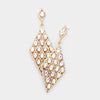 AB Detailed Stone Teardrop Pageant Earrings on Gold | Prom Earrings