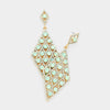 Mint Detailed Stone Teardrop Pageant Earrings | Prom Earrings