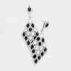Black Detailed Stone Teardrop Pageant Earrings | Prom Earrings