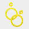 Large Yellow Rhinestone Crystal Pageant Prom Hoop Earrings