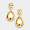 Gold Crystal Rhinestone Teardrop Evening Earrings