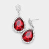 Small Red Crystal Drop Pageant Earrings | Interview Earrings