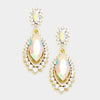 Small AB Marquise Crystal Drop Pageant Earrings on Gold | Prom Earring