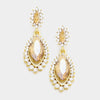 Small Topaz Marquise Crystal Drop Pageant Earrings on Gold | Prom Earring