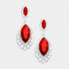 Small Red Marquise Crystal Drop Pageant Earrings  | Prom Earring