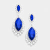 Small Sapphire Marquise Crystal Drop Pageant Earrings  | Prom Earring