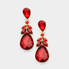 Red Crystal Teardrop Leaf Pageant Earrings on Gold