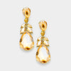 Gold Crystal Teardrop Leaf Pageant Earrings on Gold
