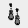 Black Crystal Teardrop Leaf Pageant Earrings