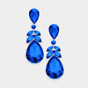 Sapphire Crystal Teardrop Leaf Pageant Earrings