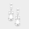 Clear Crystal Teardrop Leaf Pageant Earrings