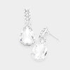 Small Clear Crystal and Rhinestone Teardrop Dangle Earrings