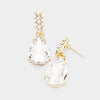 Small Clear Crystal and Rhinestone Teardrop Dangle Earrings on Gold