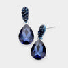 Small Navy Crystal and Rhinestone Teardrop Dangle Earrings  | Little Girls | Older Girls Interview