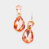 Small Peach Crystal Teardrop Dangle Earrings on Gold