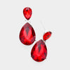Small Red Crystal Teardrop Dangle Earrings
