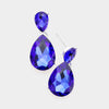 Small Sapphire Crystal Teardrop Dangle Earrings