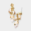 Small Gold Marquise and Round Crystal Drop Earrings