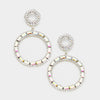 AB Crystal Stone Hoop Earrings on Silver