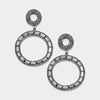 Black Diamond Crystal Stone Hoop Earrings