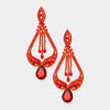 Red Crystal Pageant Earrings on Gold  Miss America Earrings