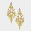 Large Pink and Green Crystal Chandelier Earrings