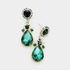 Little Girls Emerald Crystal Teardrop Earrings