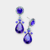 Little Girls Sapphire Crystal Teardrop Earrings