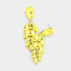 Yellow Crystal Teardrop Marquise Pageant Earrings