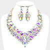 AB Crystal Teardrop Cluster on Gold Statement Prom Necklace Set | Prom Necklace Set | 380614