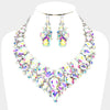 AB Crystal Teardrop Cluster Statement Prom Necklace Set | Prom Necklace Set