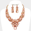 Teardrop Peach Crystal Stone Cluster Necklace Set
