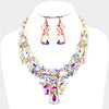 Teardrop AB Crystal Stone Cluster Necklace Set