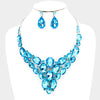 Aqua Crystal Cluster Vine Evening Necklace and Earrings