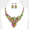 Multi-Color Cluster Vine Necklace and Earrings