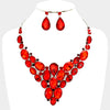 Red Cluster Vine Necklace and Earrings